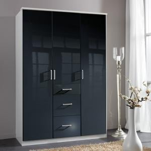 Alton Wardrobe In Gloss Black And Alpine White With 3 Doors