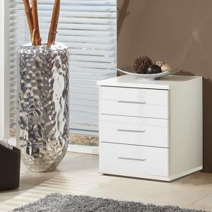 Alton Bedside Cabinet In High Gloss Alpine White With 3 Drawers