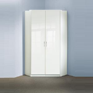 Alton Corner Wardrobe In High Gloss Alpine White With 2 Doors