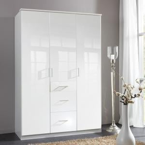 Alton Wardrobe In High Gloss Alpine White With 3 Doors 3 Drawers