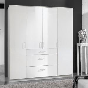 Alton Wardrobe In High Gloss Alpine White With 4 Doors 3 Drawers