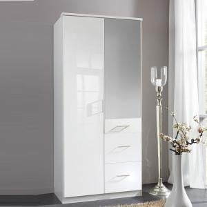 Alton Mirror Wardrobe In High Gloss Alpine White With 2 Doors