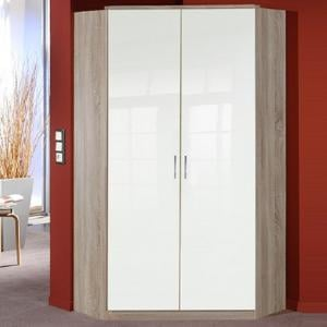 Alton Corner Wardrobe In High Gloss White And Oak With 2 Doors