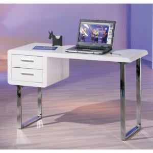 Carlo Computer Desk in High Gloss White With Chrome Legs