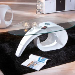 Coisa Modern Clear Glass Top Coffee Table With White Base