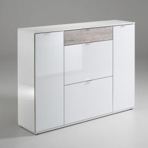 Roscrea Shoe Cabinet In White Gloss And SandOak With 4 Doors