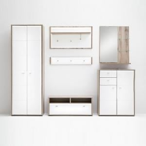 Camino Hallway Furniture Set 2 In White Gloss And Sanremo Oak