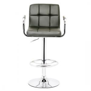 Glenn Bar Stool In Grey Faux Leather With Chrome Base_2