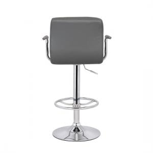 Glenn Bar Stool In Grey Faux Leather With Chrome Base_4