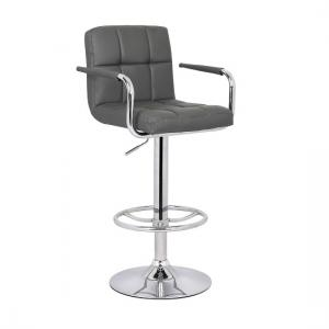 Glenn Bar Stool In Grey Faux Leather With Chrome Base