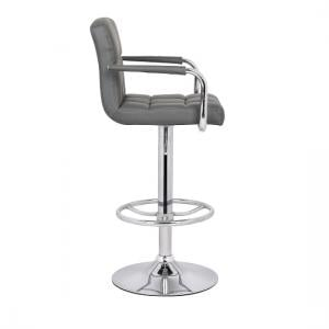 Glenn Bar Stool In Grey Faux Leather With Chrome Base_3