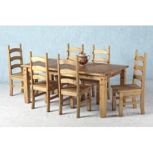Corona Wooden Dining Set with 6 Wooden chairs