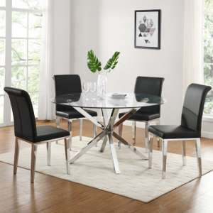 Crossley Round Glass Dining Set With 4 Kirkland Black Chairs