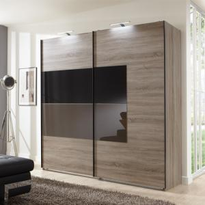 Cairo Sliding Wardrobe In Montana Oak And Black Mocha Glass Door