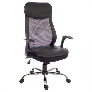 Imogen Curve Home Office Chair In Black With Mesh Back
