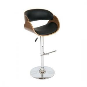 Corano Curved Padded Bar Stool In Walnut And Black
