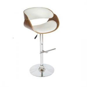 Corano Curved Padded Bar Stool In Walnut And White