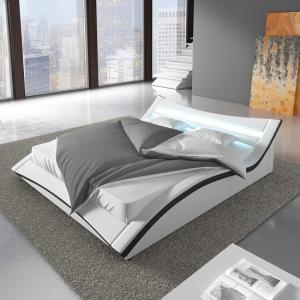 Stafford King Size Bed In White Faux Leather With LED Lighting