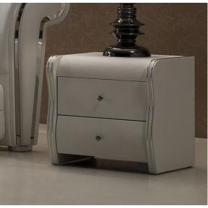 Veronica 2 Drawer White Faux Leather Bedside Cabinet