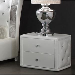 Verona Contemporary 2 Drawer White Faux Leather Bedside Cabinet