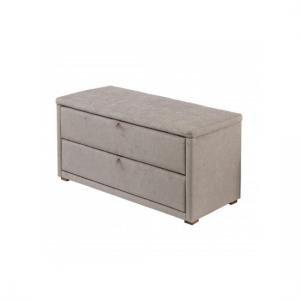 Derry Mink Finish Chenille Style Fabric Ottoman Storage Bench