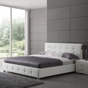 Martini Double Bed In White Faux Leather With Aluminium Legs 1
