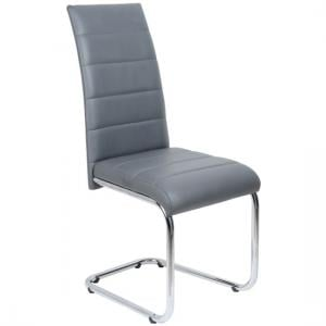 Daryl Dining Chair In Grey PU Leather With Stainless Steel Legs