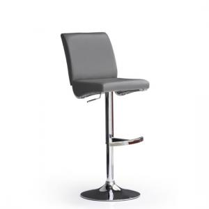 Diaz Grey Bar Stool In Faux Leather With Round Chrome Base