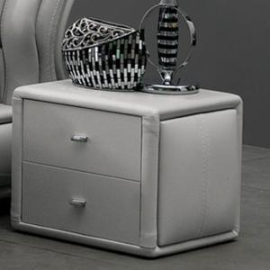 Victoria Bedside Cabinet In Grey Faux Leather With 2 Drawer