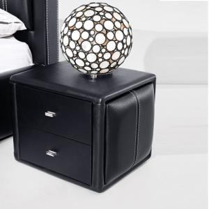 Victoria Contemporary 2 Drawer Black Faux Leather Bedside Drawer