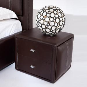 Victoria Contemporary 2 Drawer Brown Faux Leather Bedside Drawer