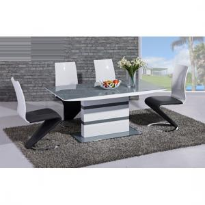 Arctic Dining Table In Grey Glass Top And 6 Leona Z Dining Chair