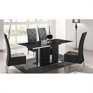 Levo Glass Dining Table In Black PU And 4 Asam Chair