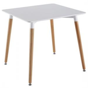 Julia Dining Table Square In White Top With Solid Beech Legs