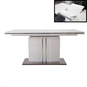 Palmer Extendable Dining Table In White Gloss With Chrome Base