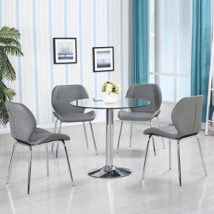 Dante Glass Dining Table In Clear With 4 Grey Darcy Chairs_1