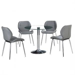 Dante Glass Dining Table In Clear With 4 Grey Darcy Chairs_2