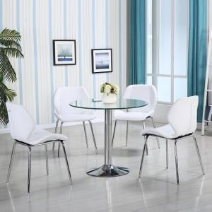 Dante Glass Dining Table In Clear With 4 White Darcy Chairs_1