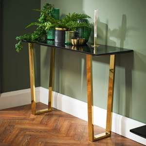 Daviel Console Table In Black High Gloss With Polished Gold Legs