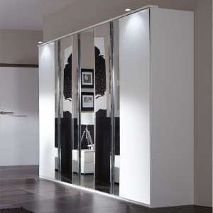 Davos Wardrobe 5 Door in Alpine White With Mirrors