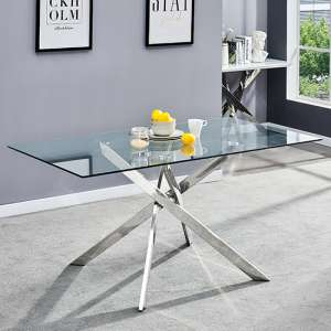 Daytona Glass Dining Table Rectangular In Clear With Chrome Legs