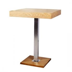 Topaz Bar Table Square In Oak And Stainless Steel Support_1