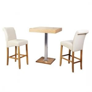 Topaz Bar Table Square In Oak And Stainless Steel Support_3