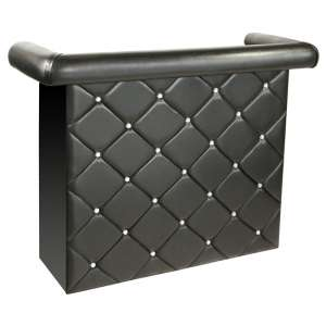Diamond Bar Unit In Black Faux Leather With Diamante