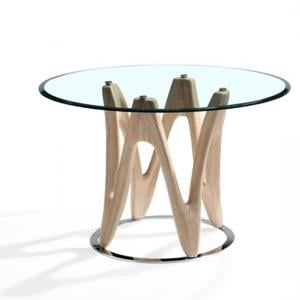 Dunic Glass Dining Table Round In Sonoma Oak And Chrome