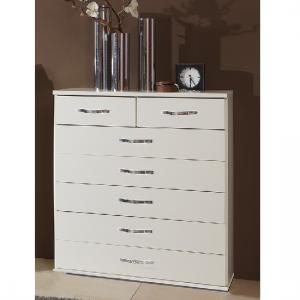 Candice Wide Chest of Drawers In Alpine White With 7 Drawers