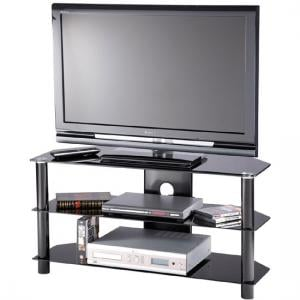 Essential Glass TV Stand In Black With 2 Shelf