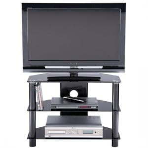 Essential Medium Sized Black TV Stand With 2 Shelf