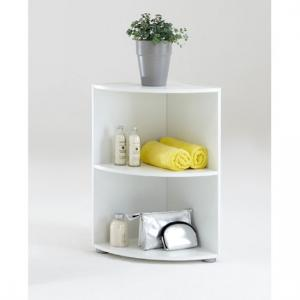 Ecki1 Wooden Corner Shelf in White with Two Compartments