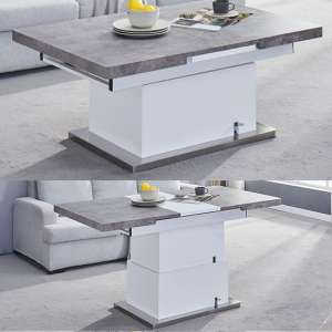 Elgin Extending White Gloss Concrete Coffee To Dining Table